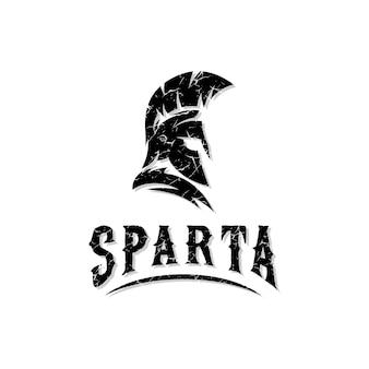 Spartaanse krijgerhelm gladiator oudgrieks met vintage logo-ontwerp