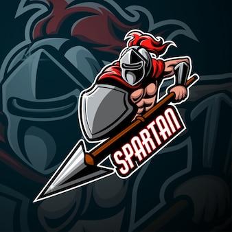 Spartaanse mascotte esport logo ontwerp