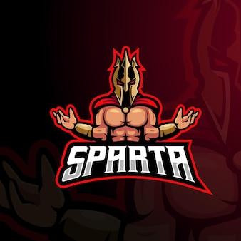 Spartaanse mascotte logo ontwerp vector met moderne illustratie concept stijl voor badge, embleem en t-shirt afdrukken. brave sparta voor esports-team