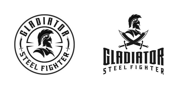 Spartaanse of gladiator krijger logo sjabloon inspiratie