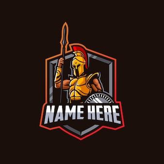 Spartaanse ridder mascotte logo