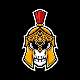 Spartaanse schedel mascotte logo geïsoleerd