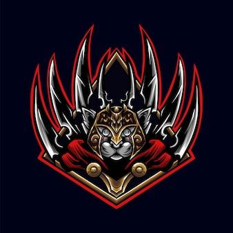 Spartaanse tijger met zwaardvleugel art logo mascotte illustratie