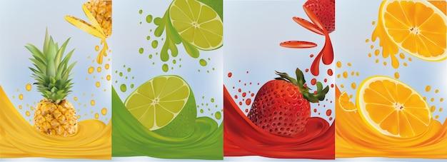 Spat sap op zoet fruit. realistische ananas, limoen, aardbei, sinaasappel.