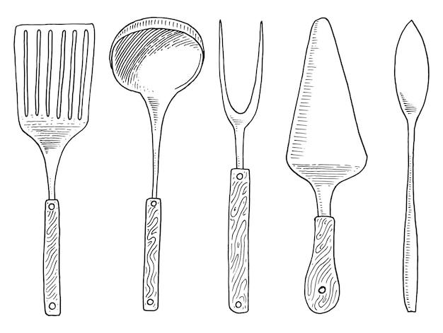 Spatel voor heet, kaviaar en dessert, vork voor haring of pollepel.