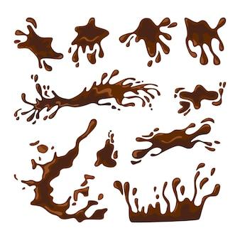 Spatten van koffie of warme chocolademelk illustraties set