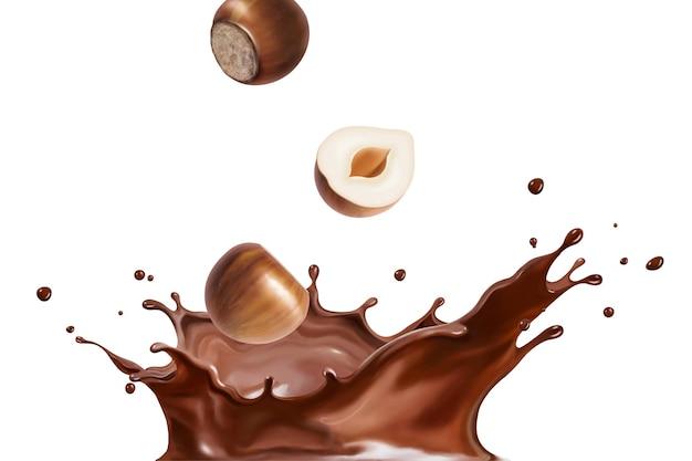 Spattende chocoladevloeistof met hazelnoot in 3d illustratie Premium Vector