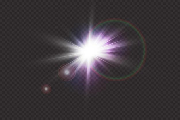 Speciaal lens flare lichteffect. zonneflits met stralen en schijnwerpers.