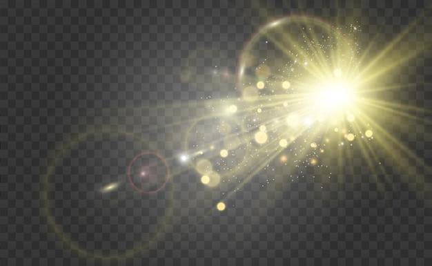 Speciaal lensflitslichteffect de flits flitst stralen en zoeklicht illustreert wit gloeiend licht