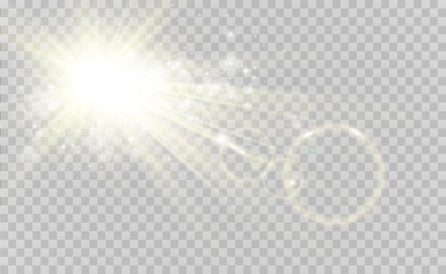 Speciaal lensflitslichteffect de flits flitst stralen en zoeklicht illustwit gloeiend