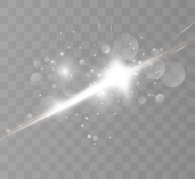 Speciaal lensflitslichteffect de flits flitst stralen en zoeklicht