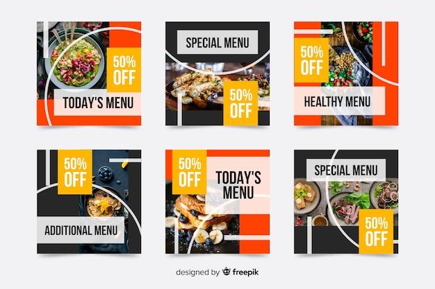 Speciaal menu biedt instagram postverzameling