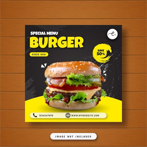 Speciaal menu hamburger eten sociale media post banner
