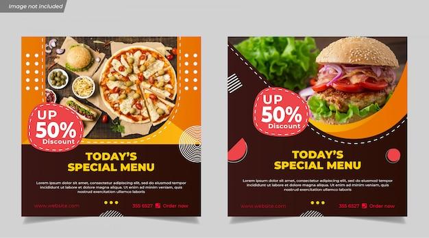 Speciaal menu voor hamburger eten voor sociale media instagram post-sjabloon voor spandoek