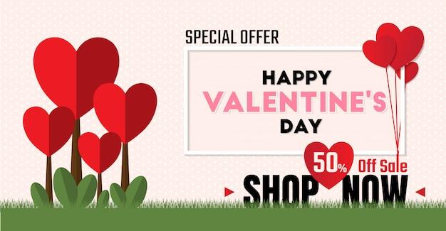 Speciale aanbieding 50% korting op de verkoop voor valentijnsdag
