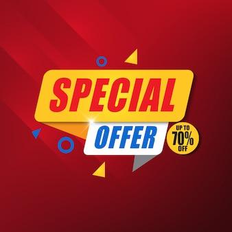 Speciale aanbieding banner ontwerpsjabloon met rode achtergrond