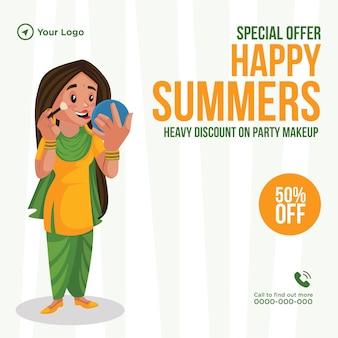 Speciale aanbieding bannerontwerp voor gelukkige zomers