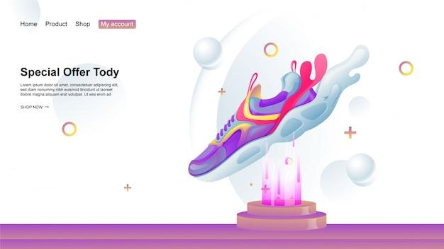 Speciale aanbieding bestemmingspagina-illustratie voor de footwear ecommerce-website