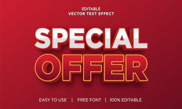 Speciale aanbieding bewerkbaar teksteffect met premium vector