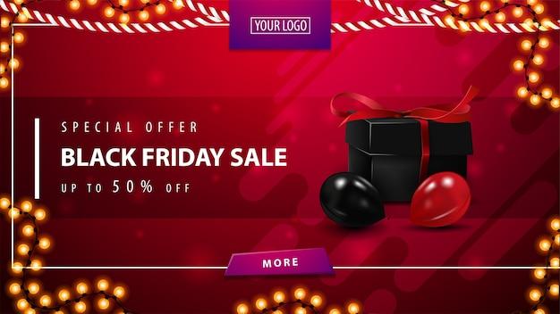 Speciale aanbieding, black friday-uitverkoop, rode kortingsbanner met huidige doos, ballonnen, knop en slingerframe. kortingsbanner voor website