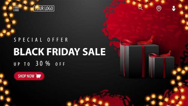 Speciale aanbieding, black friday-uitverkoop, tot 30% korting, rode en zwarte kortingsbanner met abstracte onregelmatige vormen, zwarte cadeautjes, slingerframe en aanbieding met knop. kortingsbanner voor website