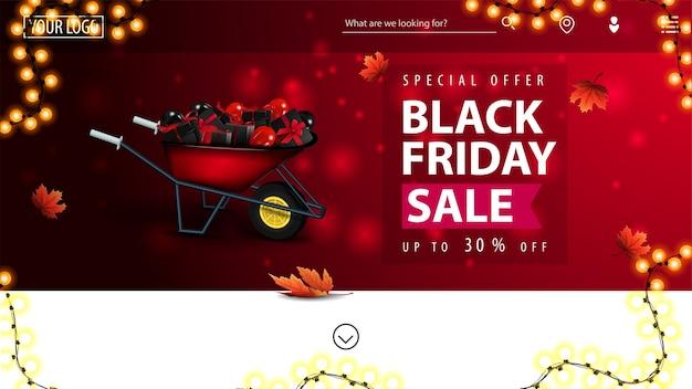 Speciale aanbieding, black friday-uitverkoop, tot 30% korting, rode kortingsbanner voor uw website