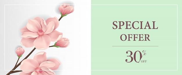 Speciale aanbieding dertig percenten van banner met roze bloeiend takje op lichtgroene achtergrond