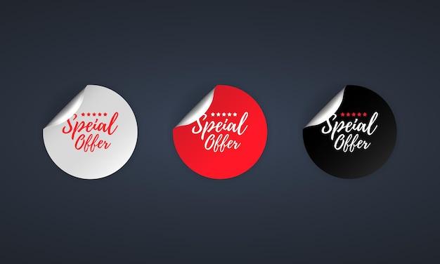 Speciale aanbieding icoon. korting. speciale aanbieding etiketten set. kortingsactie.