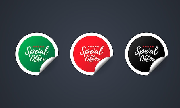 Speciale aanbieding icoon. stickerset. kortingsvector. speciale aanbieding etiketten set. uitverkoop