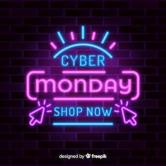Speciale aanbieding in neonlichten voor cyber maandag