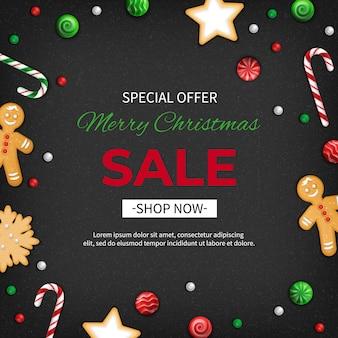 Speciale aanbieding kerstuitverkoop kortingsflyer grote seizoensverkoop webbanner met vakantiesnoepjes