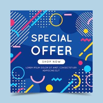 Speciale aanbieding kleurrijke banner met trendy abstracte geometrische elementen en helder.