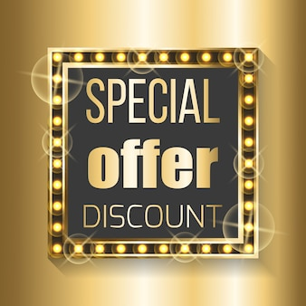 Speciale aanbieding korting in vierkant frame op gouden
