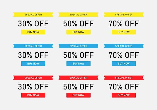 Speciale aanbieding korting verkoop banner set. vectoreps 10