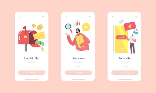 Speciale aanbieding mobiele app-pagina onboard-schermsjabloon