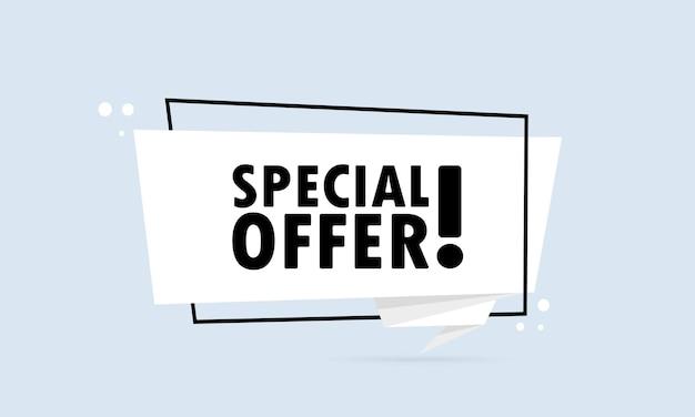 Speciale aanbieding. origami stijl tekstballon banner. affiche met tekst speciale aanbieding. sticker ontwerpsjabloon. vector eps 10. geïsoleerd op achtergrond