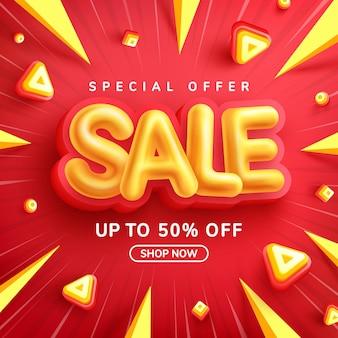 Speciale aanbieding sale 50% korting op banner met yellow sale-lettertype op rood