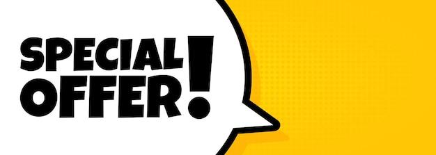 Speciale aanbieding. spraakballonbanner met speciale aanbiedingtekst. luidspreker. voor zaken, marketing en reclame. vector op geïsoleerde achtergrond. eps-10.