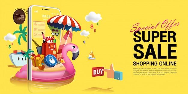 Speciale aanbieding super zomer verkoop in geel concept op mobiele telefoon