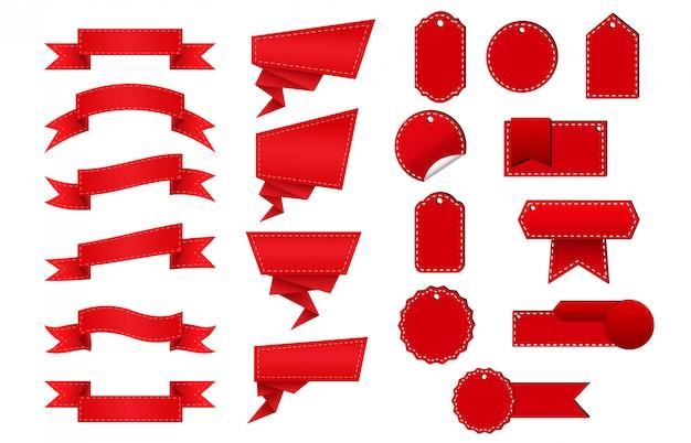 Speciale aanbieding-tag set rode platte linten en labels. vectorillustratie
