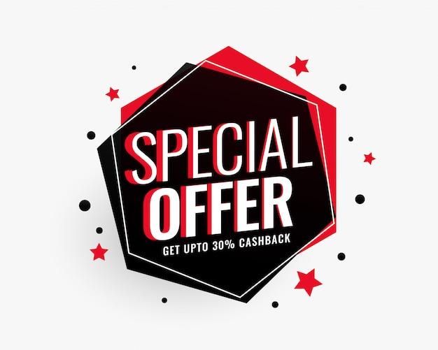 Speciale aanbieding verkoop banner in zeshoekige vorm met sterren