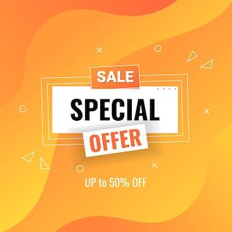 Speciale aanbieding verkoop banner ontwerpsjabloon met vloeiende kleurovergang oranje