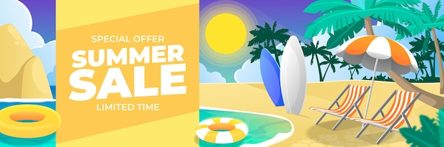 Speciale aanbieding zomer verkoop banner met strand achtergrond