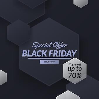 Speciale aanbieding zwarte vrijdag verkoop korting promotie banner sjabloon seizoen met zeshoekige patroon decoratie geometrie