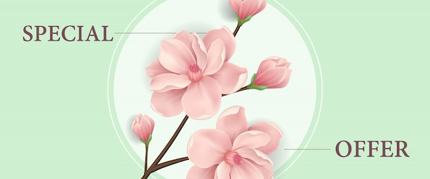 Speciale aanbiedingbanner met roze bloeiend kersenboomtakje in rond kader
