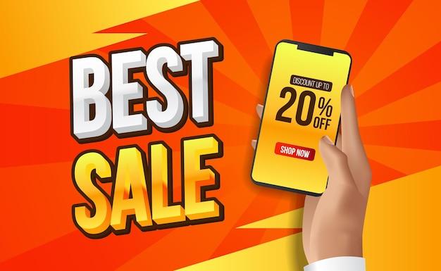 Speciale beste verkoopaanbieding banner of kortingssjabloon met telefoon in de hand houden