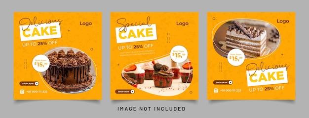 Speciale cakebanner voor postsjabloon op sociale media