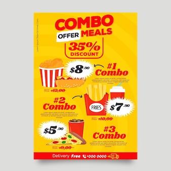 Speciale combo maaltijden poster sjabloon