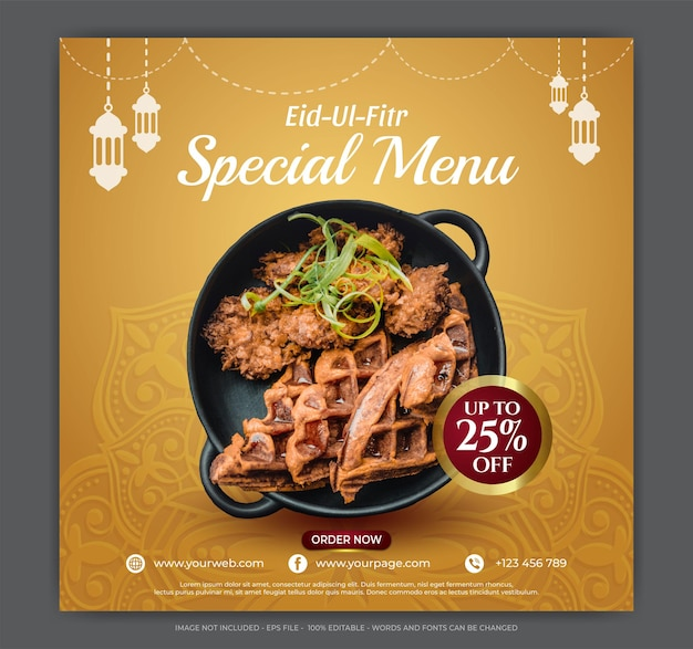 Speciale eid ul fitr voedselmenu sociale media bannerillustraties