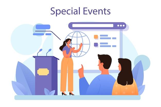 Speciale evenementen concept. platte vectorillustratie